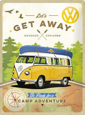 VW Camper 'Get Away' - 3D Metal Wall Sign. Size : 30cm by 40cm