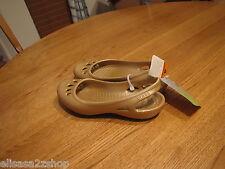 Women's sling back  Malindi flat shoe RARE ballet 4 J2 slip on gold strap NEW