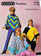 Vintage Patons Ponchos 6285 Knit and Crochet Pattern 1970s