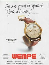 "2002 Print advert A. LANGE & SOHNE WATCH supplied by WEMPE 11"" x 8.5""."