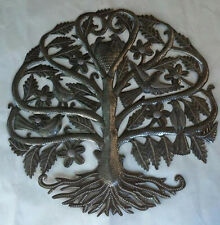 """Tree of Life Metal Art Interior Decorating Help Haitian Oil Drums Crafts 24"""""""
