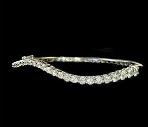 Clyde Duneier CID 18k White Gold Natural Diamond Curved Bangle Bracelet  3 TCW