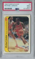 MICHAEL JORDAN 1986-87 FLEER STICKER #8 ROOKIE RC PSA 9 (ST) MINT