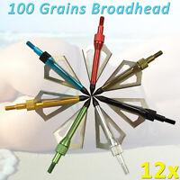 12Pcs Hunting Archery Broadhead 100 Grain Compound Bow Crossbow Shooting Tips US