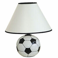 "12"" Tall Ceramic Table Lamp, Soccer Shaped, Linen Shade"