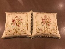 Pair Of Soft Muted Beige Pink Aubusson Pillow French Sofa Chair Cushion 22x22