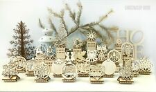 Set of 24 Wood CHRISTMAS ORNAMENTS - Laser cut wood ornaments - Christmas gifts