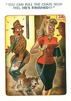 LARGE RUDE RISQUE BAMFORTH LADY'S DOG on a CHAIN WEES on MAN'S LEG POSTCARD