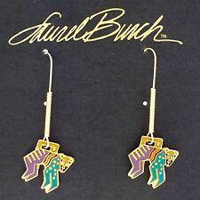 NEW! Laurel Burch MYTHICAL MONKEY Gold Cloisonné Retired Earrings