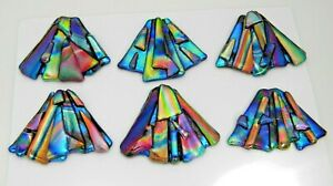 FUNKY set 6 pcs DICHROIC FUSED GLASS (W2) CABOCHON for WIRE WRAPPING, PENDANTS
