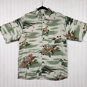 Silk Icon Floral Print Hawaiian Shirt Mens Size S Short Sleeve Button Up Collar