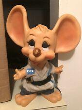 Vintage 1970s Topo Gigio Toy Mouse Plastic Bank, GTE Logo, Huron Products