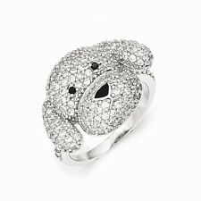 Cheryl M Sterling Silver Cubic Zirconia Puppy Ring Size 7 #1043