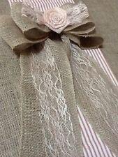 Burlap Lace Flower Champagne Pew Bow Chair Venue Wedding Rustic Chic Primitive