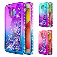 For Motorola Moto E4/E4 Plus | Liquid Glitter Bling Case Cover +Screen Protector
