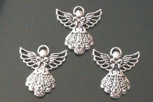 10x Tibetan Silver Guardian Angel With Bow Charm Pendant 26mm (TSC80)