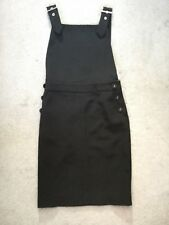 WAREHOUSE BLACK PINAFORE DRESS WITH STRAPS & BUTTONS ON EACH SIDE - UK 6 BNWT