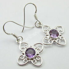 """Fashion Jewelry !! 925 Sterling Silver PURPLE AMETHYST Earrings 1.3"""" 3.0 Grams"""
