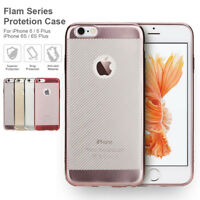 For Apple iPhone 6S & Plus Slim Electroplate Metal TPU Bumper Clear Back Case