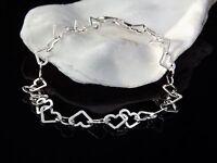 Argent Sterling 925 Coeur Bijoux Enfants Bracelet Coeurs 19.1cm Cadeau Boîte