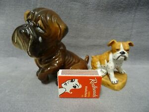 BULLDOG FIGURINES X 2 Ceramic Perfect Condition Made in Japan