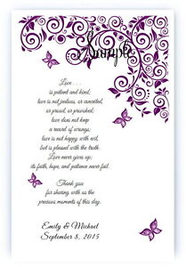 100 Personalized Custom Purple Butterfly Bridal Wedding Scrolls Favors