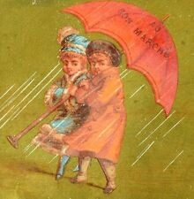 1880's Cute Girls Heavy Storm w/ Giant Umbrella Paris Bon Marche Trade Card F87