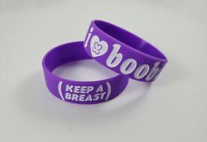 I Love Boobies Bracelet Purple Breast Cancer Awareness I Heart Boobies Band