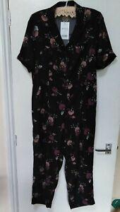 NWT Next Ladies Jumpsuit Playsuit Black floral Size 12 petite