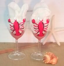 Custom Hand Painted Personalized Lobster Wine Glasses, Beach Wedding Gift, Decor