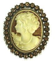 Vintage Stunning Antique Brass Rhinestone Cameo Brooch Pin Jewelry