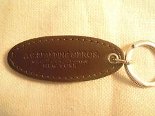 SPALDING & BROS portachiavi cuoio marrone ovale e anello in acciaio