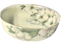 T+V Limoges Hand Painted Center Bowl/Serving Bowl White Dogwood Artist Signed
