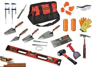 BRICKLAYERS TOOLS Plastering Trowels, Hammer Line pins F clamps 100m line UK Kit
