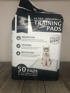"""NEW AKC ULTRA ABSORBENT FRESH SCENT PUPPY 50 TRAINING PADS 22""""X22"""" *Brand New*"""