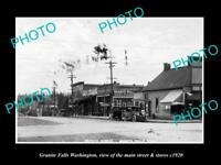 OLD LARGE HISTORIC PHOTO OF GRANITE FALLS WASHINGTON, THE MAIN St & STORES c1920