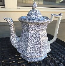 Early 19c Iron Stone Coffee Pot Cracked Ice Lavender purple ..Unique Flow Blue