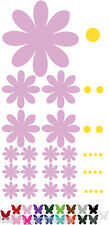 17 DAISY FLOWER STICKERS Car Wall Art Home Decals - ANY COLOUR