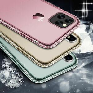 COVER per iPhone 11 12 Pro Max Mini CUSTODIA STRASS GIOIELLI + VETRO TEMPERATO