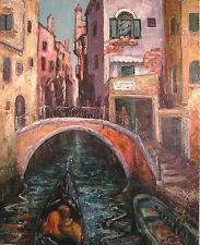 NUOVO Yvonne Auld ORIGINALE il romanticismo di VENEZIA ROMANTICA Italia GONDOLA DIPINTO