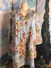 Denim 24/7 XL New Blue Floral Button Down Front Pleats 3/4 Tab Sleeve Tunic Top