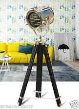 Chrome & Black Finish Spotlight Tripod Nautical Teak Wooden Vintage Floor Lamp