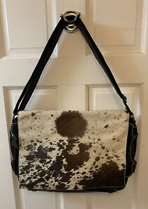 Natural Cowhide Leather Briefcase Laptop Messenger Bag Black Custom Hide New A1