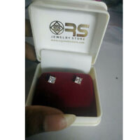 14k Rose Gold Over 2.00 Ct Princess Cut D/VVS1 Diamond Stud Earrings Women's