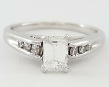 0.66 ct 14K White Gold Emerald & Round Cut Diamond Engagement Ring GIA E / SI1
