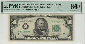 1985 $50 FEDERAL RESERVE NOTE CHICAGO FR.2122-G PMG GEM UNC 66 EPQ (594A)