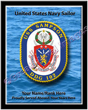USS Sampson DDG 102 Personalized Ship Crest Print on Canvas 2D Effect