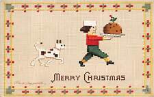 "Signed Clapsaddle u. 1910? ""Merry Christmas"" Boy & Dog, Needlepoint Style #2938"