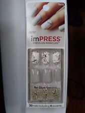 Kiss Nails Impress Press On Manicure Short Gel White Marble Gray Silver # 76610
