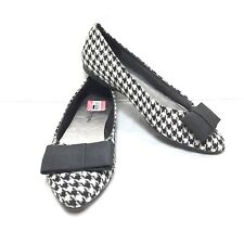 1d9dde3fd Women's Chinese Laundry Black White Tweed Bow Toe Pointed Ballerina Flats  SZ ...